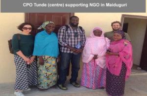 CPO Tunde (centre) supporting NGO in Maiduguri
